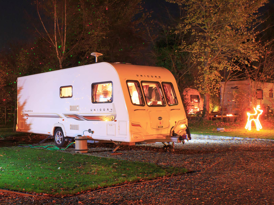 Christmas lights at Bath Chew Valley Caravan Park