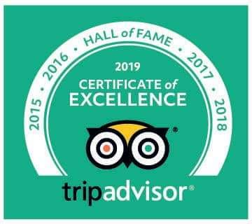 Tripadvisor certificate of excellence 2015, 2016, 2017, 2018, 2019