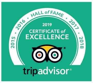 Tripadvisor certificate of excellence 2015, 2016, 2017, 2018, 2019