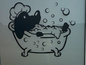 Sign on Groobys Pit dog wash door