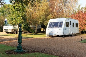 Autumn pitch at Bath Chew Valley Caravan Park